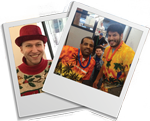 Two images - Staff member at Christmas, two staff members on Aloha Shirt Day